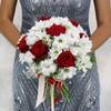 Букет из роз, хризантем и оливы фото